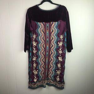 Johnny Was | Size S. Velvet Purple Shift Dress